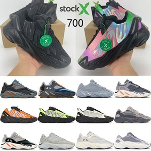 Kanye west corredor da onda 700 homens tênis da tintura do laço imã Triplo Carbon Black hospitalar azul homens reflexivos mulheres estilista sneakers trainer