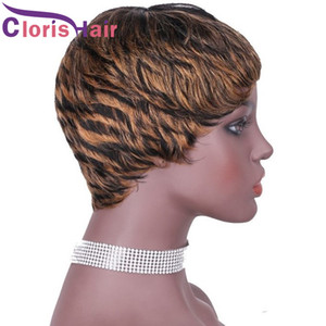Straight Raw Indian Ombre Human Hair Short Wig Pixie Cut 1B 27 Colored Non Lace Machine Made Wigs For Black Women Honey Blonde Glueless Wig