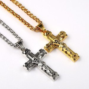 Mens Big Jesus Cross 18k Gold Plated Pendants for Necklaces Filling Pieces Fashion Men Micro Rock Hip Hop Jewelry 75cm Long Chain