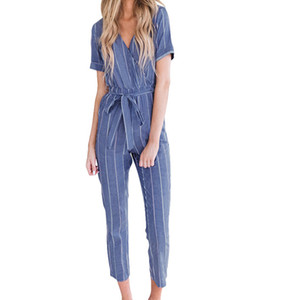 Macacãozinho mulheres macacão rendas calças compridas Mulheres V-Neck Manga Curta algodão linho listrado Plus Size solto Belt Jumpsuit D300503