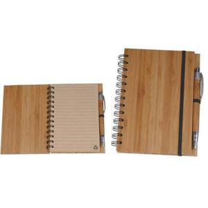 나선형 노트북 나무 대나무 커버 노트북 나선형 메모장 펜 학생 환경 메모장 도매 학교 용품 OWC293