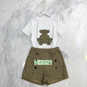 de gama alta las mujeres niñas camiseta animal del juego del patrón de aplicación capucha + letra doble botonadura de impresión cortos 2020 de diseño de moda de lujo conjuntos sueltos