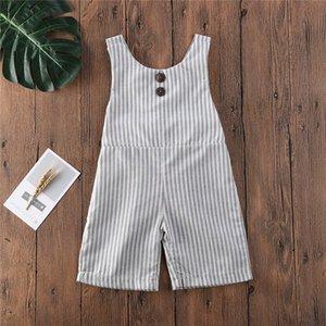2020 Casual raya Trajes 1-6Y niño muchachas de los bebés de la liga de los pantalones del babero del verano nuevos niños sin mangas del mono Ropa