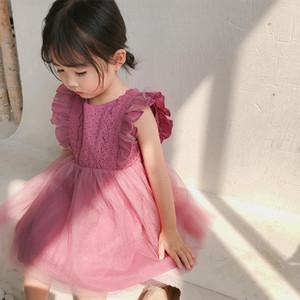 2019 Sommer neue Ankunfts-koreanische Version Baumwolle reine Farbe Allgleiches Prinzessin Spitzeweste Blase Kleid für nette süße Babys T200106