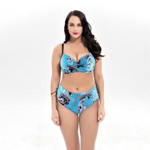 2020 Plus Size Tombul Bikini Mujer Push Up Swim Mayo 8XL için büyük Meme Kadınlar Yüksek Waisted Swimsuit için Mayo Bikini