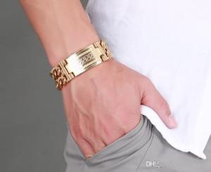 Enorme 18 milímetros Big / 23 milímetros de largura para Escolha Cadeia banhado a ouro pulseira de aço inoxidável 316L Duplo chave grego padrão masculino jóias masculinas