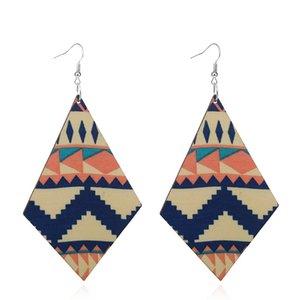 Motif géométrique de style bohème en bois Boho Rhombus Vintage Dangle Earrings