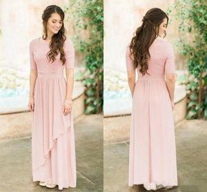Элегантный Blush Pink без бретелек невесты платья дешевые плюс размер с коротким рукавом горничной честь платье, шифон Пром Вечерние платья
