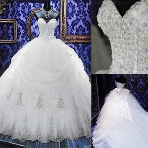 2020 Arabic Crystal Beaded Gowns Ball Gown Wedding Dresses Strapless Sweetheart Tulle Puffy Wedding Gown Bridal Dress