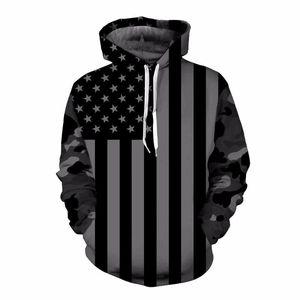USA-Flagge Hoodies Männer / Frauen 3D-Sweatshirts Druck Gestreifte Sterne Amerika-Flagge mit Kapuze Hoodies Tracksuits Pullover Mr.1991INC