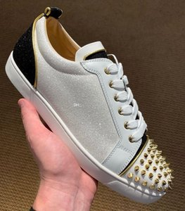 Exquisite Spikes Red Bottom Sneakers Shoes For Women,Men Glitter Leather Casual Walking Best Designer Studded Leisure Flats