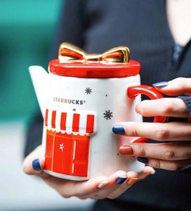 커버와 2019 스타 벅스 레드 크리스마스 선물 가게 모델링 세라믹 주전자 600ML의 대용량 주전자 커피 물 컵