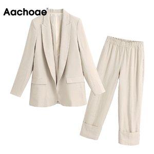 Aachoae Solid Two Piece Office Wear Suit Blazer Set Женский Костюм С Длинным Рукавом Куртка Пальто С Высокой Талией Wige Нога Манжеты Брюки