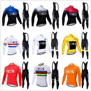 Ropa Ciclismo 2020 Invierno Pro Cycling Jersey d'hiver de l'équipe masculine ensemble vêtements thermique vélo polaire bib kit pantalon