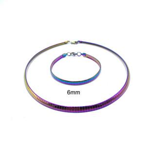 Mode féminine Choker Charm en acier inoxydable Bijoux Colliers Instable couleur colorée Collier Bracelet 4MM-Torques 8MM CY79