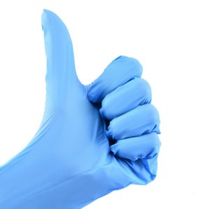 Guantes azules de nitrilo desechables polvo libre (no de látex) - paquete de 100 guantes unidades antideslizantes guantes anti-ácido 200316
