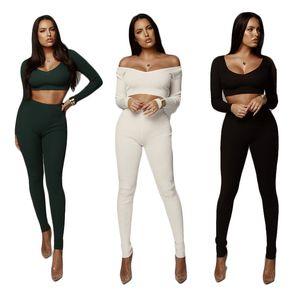 Stile caldo autunno / inverno 2019 tuta sportiva europea e americana donna moda manica lunga alta elastico a maglia in due pezzi delle donne