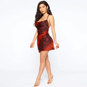 Femmes Designer Serpent Motif Robes Sexy V Neck Robe mode couleur unie sans manches Femmes Robes moulantes