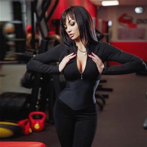 Оптовая Фитнесс Комбинезон Зима Полный Sleeve Zipper Водолазка Тощий Тонкий Женщины Повседневная Bodysuit Йога Брюки Нижнее
