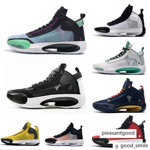 2020 Michael Jumpman 34 Mens Basketball Shoes 34s XXXIV ZOOM ECLIPSE Blue Void Red Orbit QS PE Retro Sports Sneakers Trainer us 7-12