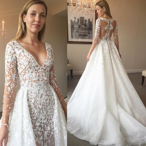 Elegant Overskirt Wedding Dresses Long Sleeves V-Neck Appliqued Tulle Mermaid Wedding Gown See Through Back Bridal Dress