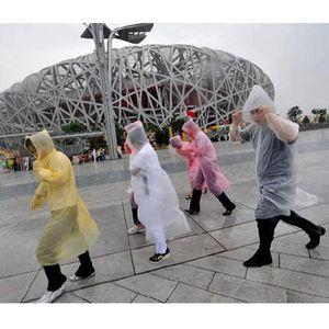 Moda One-time Wear Raincoat Hot Disposable PE Raincoats descartável Poncho Rainwear viagem Chuva revestimento de chuva 1712006