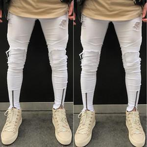 Homens Elegante rasgado Arranhado Calças Jeans motociclista skinny slim Hetero Denim Pencil calças compridas Leggings Pantalon S-3XL Branco