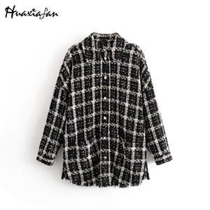Huaxiafan пальто куртки Plaid зимы женщин куртки черный вскользь Сыпучие Overcoats Femme Outwear Split Streetwearing Mujer