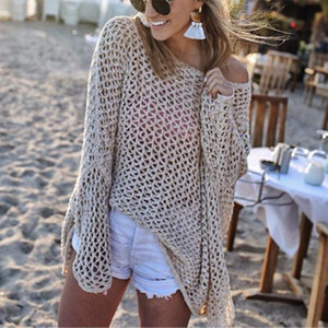 2020 Women Crochet Hollow Out Bikini Cover Up Solid Knitted Beach Tunics Kaftan Summer Swimsuit Swimwear Pareos Robe De Plage