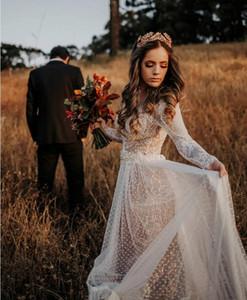 Country Wedding Dresses 2019 겸손한 긴 소매 라인 레이스 Tulle Boho Backless Bridal Gowns 저렴한 가운