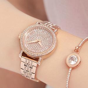 Roman numeral scale watch women quartz watch lady steel bracelet watch female rose gold diamond clock water secure table T200420