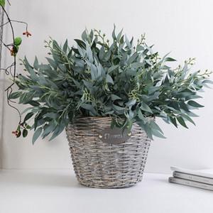 Искусственные листья ивы Зеленый Белый Поддельные растения DIY Искусственные букет Artificial Листва для дома Свадебное Forest Party Decoration