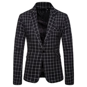 HEFLASHOR Blazer Men Suit Fashion Jacket Mens Slim Fit Casual Plaid Jackets Men Blazer Single Button Plus Size Male Wedding Suit