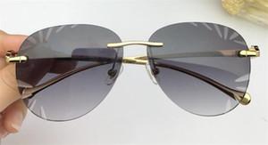 Nuevo diseñador de moda gafas de sol 6008 lente de corte de cristal sin marco diamante de alta gama gafas decorativas de calidad superior