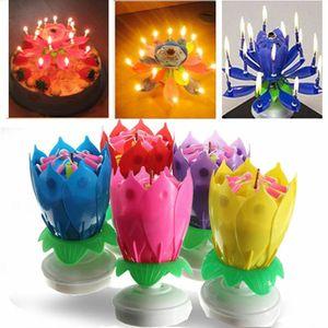Kerze Rotating Geburtstag Musical Lotus Flower Magic Flower-Kuchen-Kerzen Alles Gute zum Geburtstag Kunst Candle Light Geschenke romantische Partei