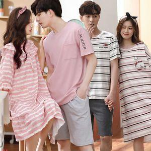 2020 Summer Short Sleeve Couples 100% Cotton Casual Striped Nightgowns Women Sleepwear Night Dress Nightdress Men Pyjama Clothes