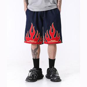 Chama Original Carta Padrão Imprimir Mens shorts soltos Casual cordão joelho estendido o comprimento das calças Oversize Streetwear Shorts