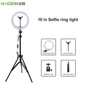 Haoxin fotografía LED de 10 pulgadas selfie anillo de luz de la lámpara de metal regulable cámara anillo de teléfono con el soporte trípodes para maquillaje video en vivo Estudio