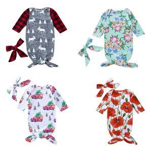 Niños bebé saco de dormir de tela escocesa Impreso Carta de manga larga del O-Cuello del sueño Bolsa de Navidad con el pañuelo de los bebés para dormir los 0-6M 07