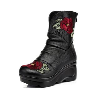 Charm2019 GKTINOO Mulheres Bordadas Botas De Couro Genuíno Handmade Vintage Antiderrapante Martin Botas Cunhas Sapatos