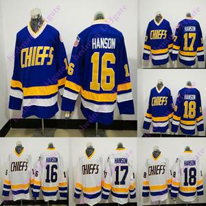 Hanson Brothers CCM Men Vintage 16 # 17 # 18 # Hanson bleu et blanc Chiefs Hockey Jersey Livraison gratuite