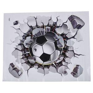 3D Football Wall Sticker PVC Art Soccer Crack Decal Boys Room Mural Decor