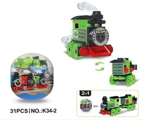 6 Train Building blocks world Plastic Tinker Box rain car toy kids toys Children\'s Educational Intelligence Safe Environmental