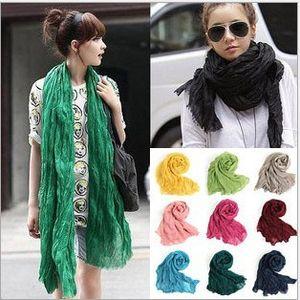 Women Voile Solid Color Scarf Fashion plicated Neckerchief Summer Neck Shawl Wrap Beach Head Scarves Stole Bandana HeadScarf Sarong LJJA2365