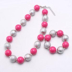Симпатичные ярко-розовые / серебряные бусины ожерелье браслеты девушки детские коренастые ювелирные изделия для детей дети бисером ожерелье прекрасный