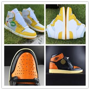2019 1 OG alta rotto rimbalzi scarpe da basket degli uomini 3,0 1 giallo chiaro nero bianco vaniglia stelle marine 555088-028 autentiche scarpe sportive