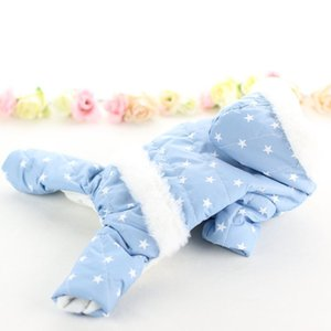 Pet Winter Dog Clothes Stars Printed Costume Waterproof Cold-weather 4-legged Hooded Coat Thickening Jumpsuit For Dogs Hoodies