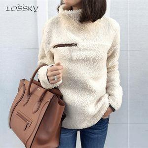 Lossky Felpe Autunno Inverno Top manica lunga peluche caldo Pullover tunica femminile Pink Ladies Abbigliamento Zipper Streetwear
