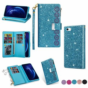 Wallet phone Case for iphone 11 pro max Luxury Bling Glitter protective case Flip Card Holder phone cover for Samsung S20 plus S10 Note10