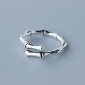 Fabrika Fiyatı% 100 925 Gümüş Moda Minimalism Bambu Açık Halka Güzel Jewellry Kadın Montaj Takı için